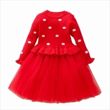 Baby Dresses for Girls Birthday Long Sleeves Princess Dress Baptism Gown (RED)