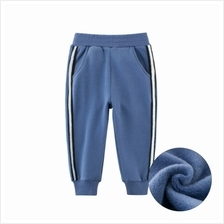 Middle and Small Children'S Autumn and Winter Pants Thickened Hand Fleece (BLU