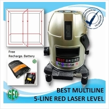 BEST MULTILINE 5 RED LASER LEVEL (4 VERTICAL, 1 HORIZONTAL AND 6 DOTS)