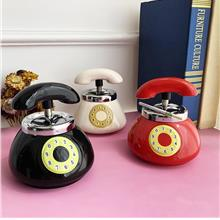 Telephone Design Push Down Ceramic Ashtray Home & Office Decoration