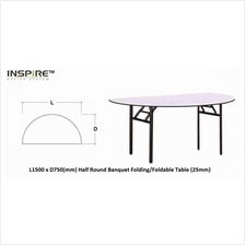 L1500 x D750(mm) Half Round Banquet Folding/Foldable Table (25mm)