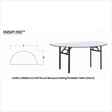 L1200 x D600(mm) Half Round Banquet Folding/Foldable Table (25mm)
