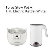 Toros Stew Pot + Buffalo 1.7L Electric Kettle(White)