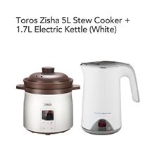 Toros Zisha 5L Stew Cooker + Buffalo 1.7L Electric Kettle(White)
