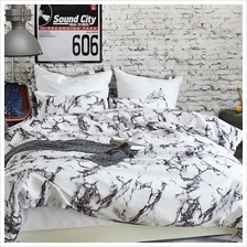 Soft Polyester Brushed Microfiber Duvet Set with Zipper Closure Marble Printed