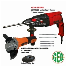 Q3 28MM 820w POWERFUL ROTARY HAMMER WITH QUASA 720W ANGLE GRINDER