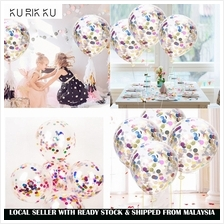 5pcs 12inch Transparent Latex Balloons Confetti Latex Balloons Party