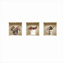 Set of 3 Magic 3D Vase Flowers Removable Wall Art Sticker Decals DIY for Livin