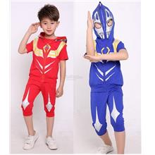 My Naughty Son Boys Kids Ultraman superhero tee + shorts + jacket hood