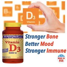 Stronger Immune & Bone with D3 5000IUm 250 Softgels (USA)