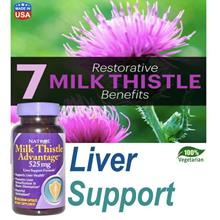 Milk Thistle Advantage 525mg 60Vcap, Liver Health, 100% Vegetarian USA