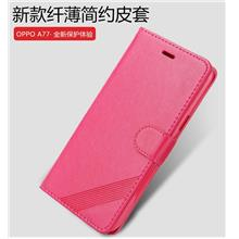 Oppo A71 A77 leather flip wallet case casing cover + Tempered glass