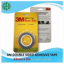 3M DOUBLE SIDED HEAVY DUTY ADHESIVE TAPE (12mm X 2m) Acrylic Grey