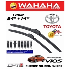 "TOYOTA VIOS 2008 - Latest OPT7 Car EU Silicon Wiper 24""+14"""