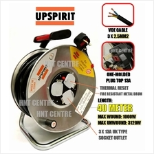 UPSPIRIT 40M 240V Industrial Extension Wire Cable Reel Metal Drum