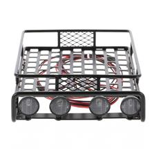 Roof Rack Luggage Carrier with Light Bar for 1/10 RC Crawler Axial SCX10 D90 1