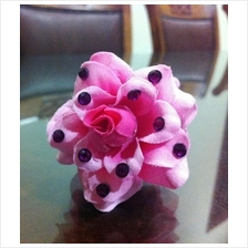 Bling Rose Hair Clip,claw pink flower w/ fuchsia crystal accessory wed