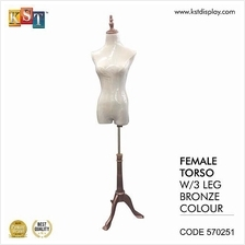 Mannequin Female Torso With 3 Leg Bronze For Clothes Garment Display