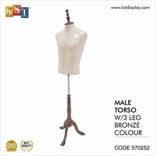 Mannequin Male Torso With 3 Leg Bronze For Clothes Garment Display