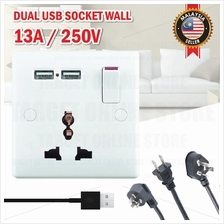 13A Wall Plug Socket Dual USB Universal Switch Home Charger Adapter