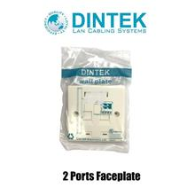 Dintek 2 Ports Faceplate with Shutter, UK Type (Cat.5e, Cat.6 K/Jack)