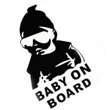 Baby On Board Black Reflective Vinyl Car Styling Sticker Waterproof