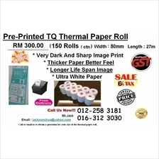 Pre-Printed 'Thank You' Thermal Paper Rolls 80mm 150roll Offer !