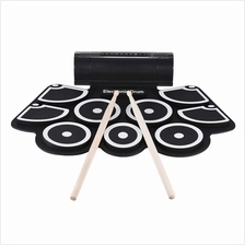 Portable Electronic Roll Up Drum Pad Set 9 Silicon Pads Built-in Speak