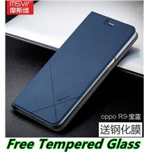 detailed look f6d50 83726 Msvii OPPO R9 F1 Plus Flip Smart Case Cover Casing + Tempered Glass