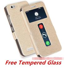 Lenovo Vibe C A2020 Flip Stand Case Cover Casing +Tempered Glass