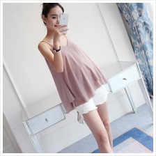 Maternity Clothing Tops Summer Cotton Sleeveless Korean Style Pregnanc