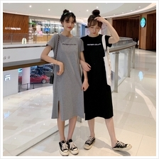 Maternity Clothing Dress Pregnancy Long Summer With Slit Cotton Casual