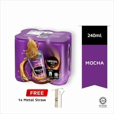 NESCAFE Mocha RTD 240ml Buy 1 Clusters Free Metal Straw