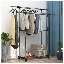 BIGSPOON Double Pole Garment Rack Adjustable Clothes Drying Hanger