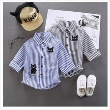 Kids Clothing Boys Tops Long Sleeved Polo Shirts Stripes Cotton Casual