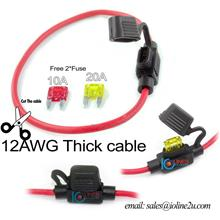 12AWG-Copper cable Fuse Holder WaterProof Car Auto 30cm Free 10A+20A Mini Fuse