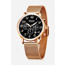 MEGIR 2022 CASUAL WORKING SUB-DIAL MALE QUARTZ WATCH WITH STAINLESS STEEL NET