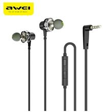 Awei Z1 Dual Drivers Wired In-ear Earphone Deep Bass Stereo with Mic (BLACK)