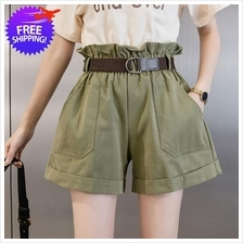 Women Ladies High Waist Leisure Short Pants with Belt
