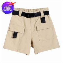 Women Ladies Multiple Pockets Leisure Short Pants with Belt