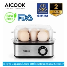 AICOOK ZDQ-806 500W S/Steel Multi-functional Rapid Egg Cooker,8 Eggs)