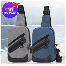Men Leisure Traveling USB Shoulder Chest Bag