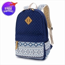 Women Pattern Print Canvas School Backpack Bag