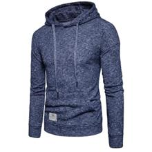 KNITTED DROP SHOULDER DRAWSTRING PULLOVER HOODIE (CADETBLUE)