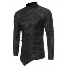 BROCADE PAISLEY ASYMMETRICAL HEM SHIRT (BLACK)