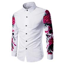 TURNDOWN COLLAR 3D FLOWERS PRINT SHIRT (WHITE)