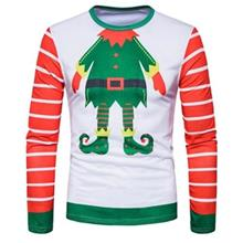 CREW NECK CHRISTMAS CARTOON FIGURE PRINT UGLY T-SHIRT (COLORMIX)