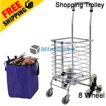 16114bce966d 8 Wheel High Quality Foldable Shopping Grocery Trolley Cart Upgrade