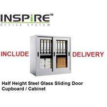 Half Height Steel Glass Sliding Door Cupboard | Cabinet