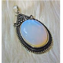 White Opal Gemstone Chunky Pendant Findings 64mm x 31mm Vintage Look